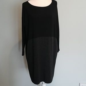 Eileen Fisher Jersey Knit Gray Black Dress XS